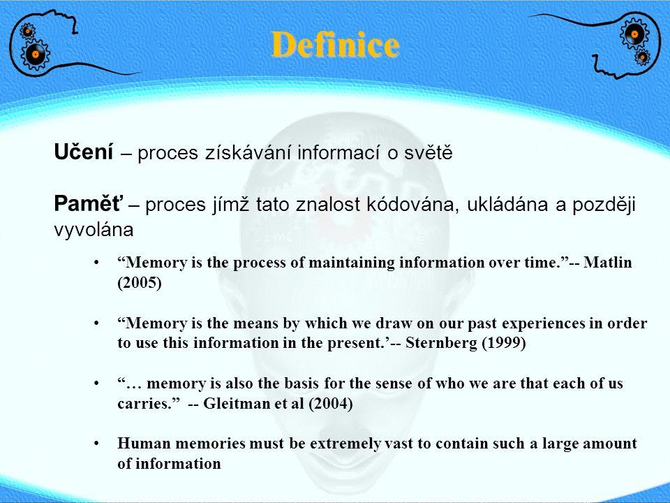 Definice Učení – proces získávání informací o světě