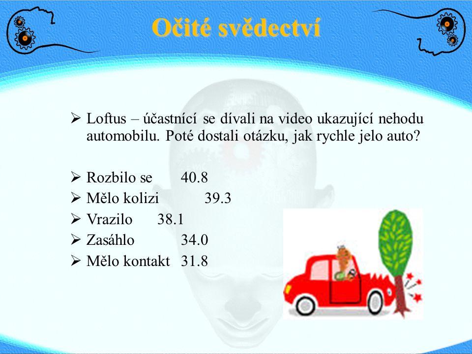 Očité svědectví Loftus – účastnící se dívali na video ukazující nehodu automobilu. Poté dostali otázku, jak rychle jelo auto