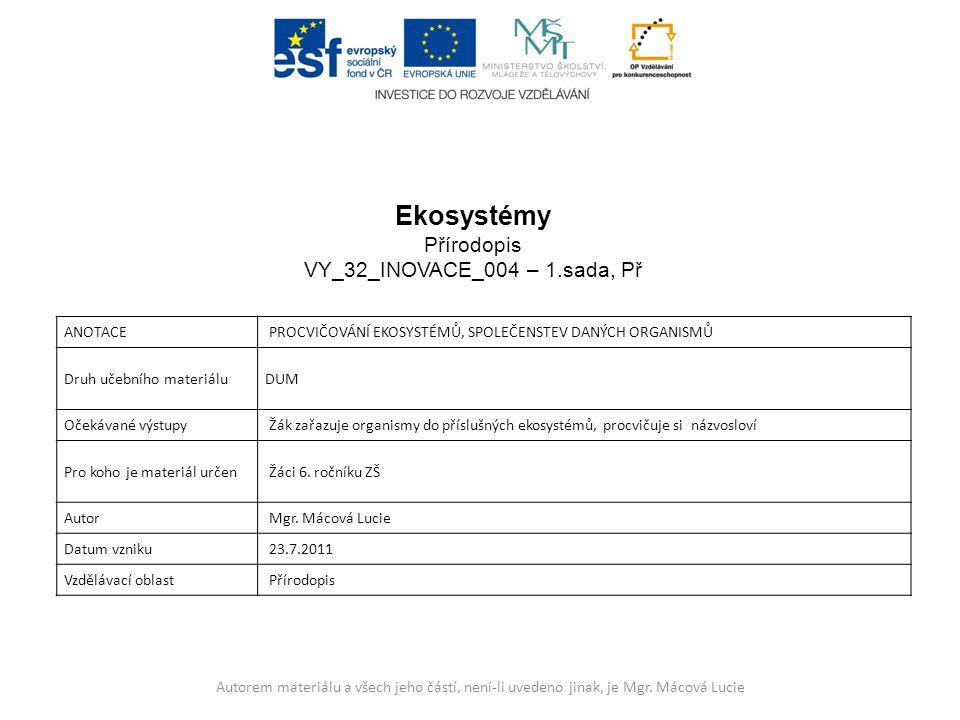 Ekosystémy Přírodopis VY_32_INOVACE_004 – 1.sada, Př Anotace