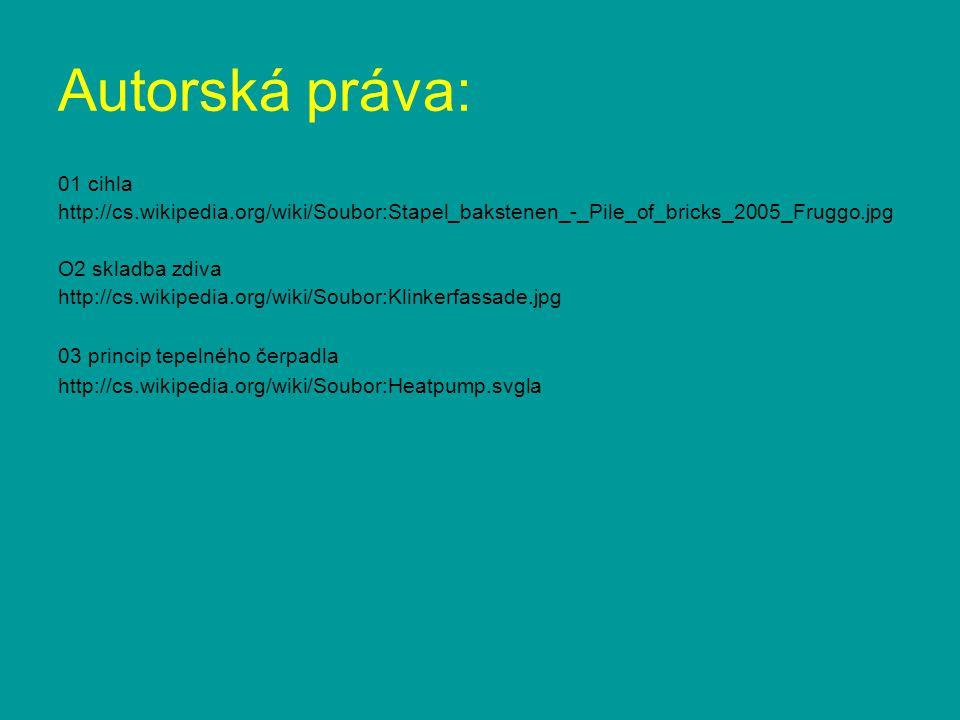 Autorská práva: 01 cihla. http://cs.wikipedia.org/wiki/Soubor:Stapel_bakstenen_-_Pile_of_bricks_2005_Fruggo.jpg.