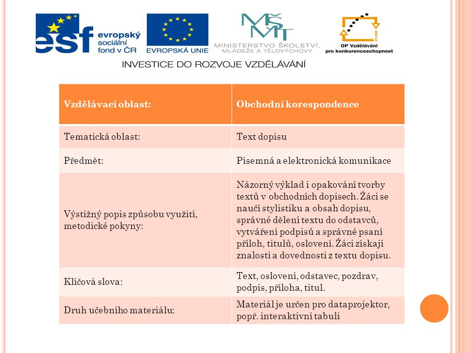 Vzdělávací oblast: Obchodní korespondence. Tematická oblast: Text dopisu. Předmět: Písemná a elektronická komunikace.