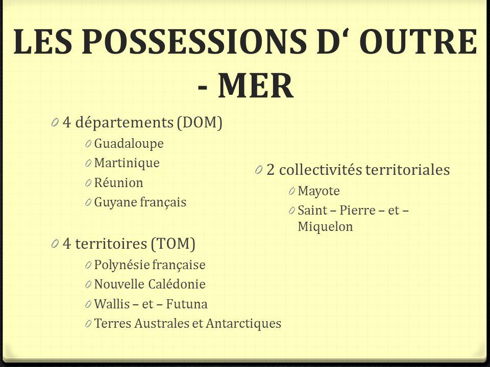 LES POSSESSIONS D' OUTRE - MER