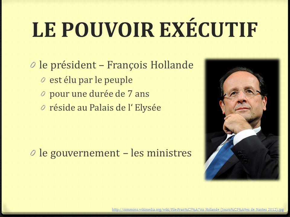 LE POUVOIR EXÉCUTIF le président – François Hollande