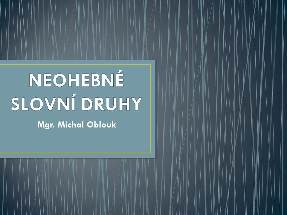 NEOHEBNÉ SLOVNÍ DRUHY Mgr. Michal Oblouk