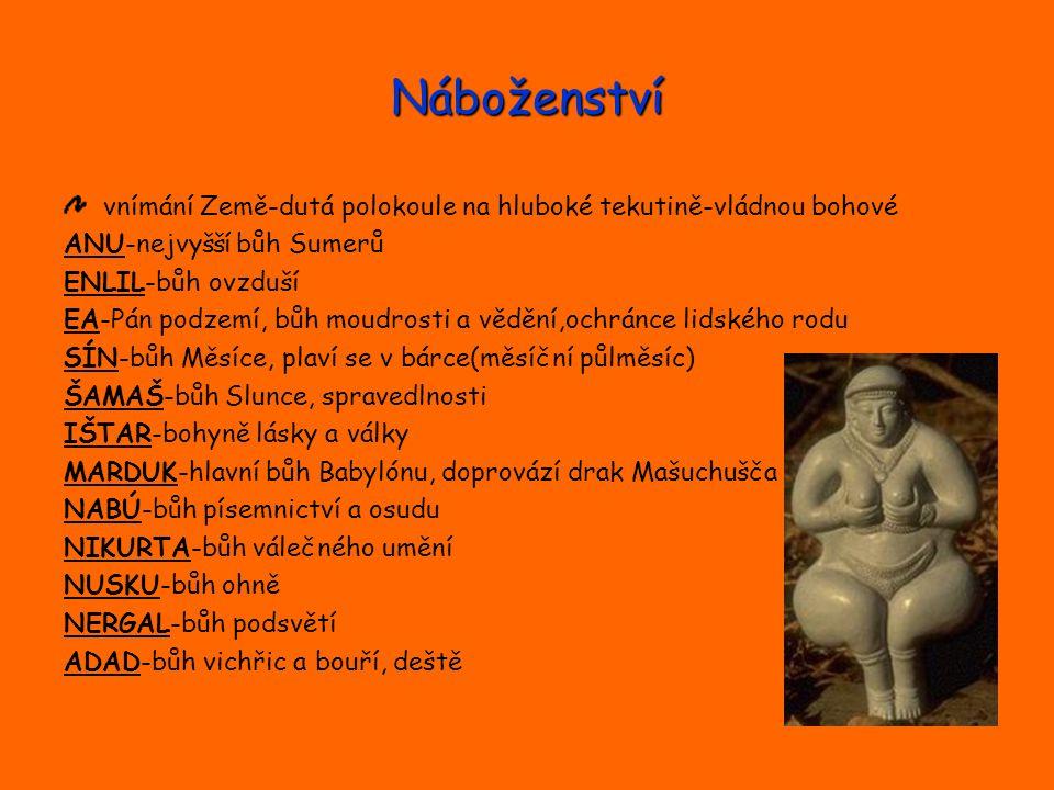 Náboženství vnímání Země-dutá polokoule na hluboké tekutině-vládnou bohové. ANU-nejvyšší bůh Sumerů.