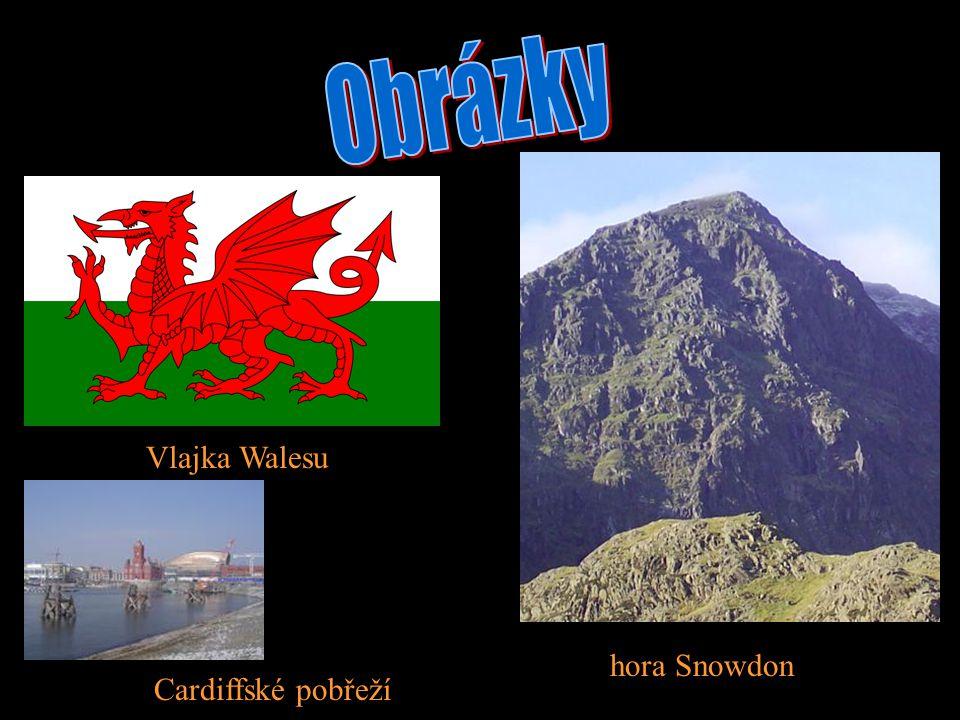 Obrázky Vlajka Walesu hora Snowdon Cardiffské pobřeží