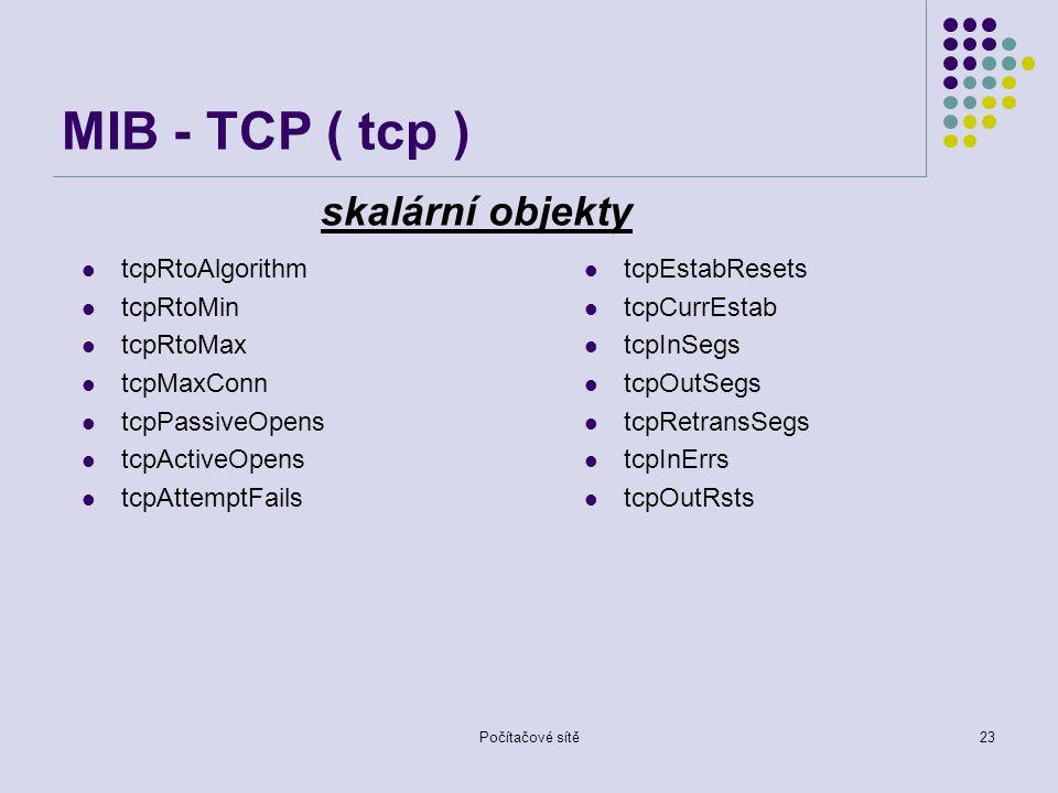 MIB - TCP ( tcp ) skalární objekty tcpRtoAlgorithm tcpRtoMin tcpRtoMax