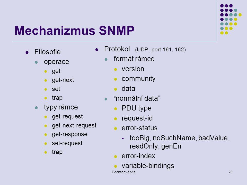 Mechanizmus SNMP Protokol (UDP, port 161, 162) Filosofie formát rámce