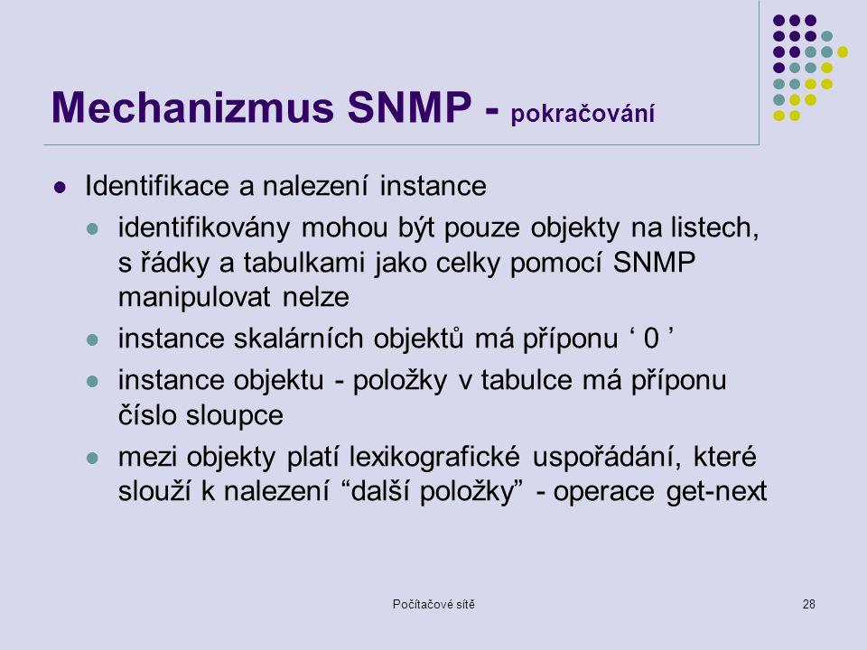 Mechanizmus SNMP - pokračování