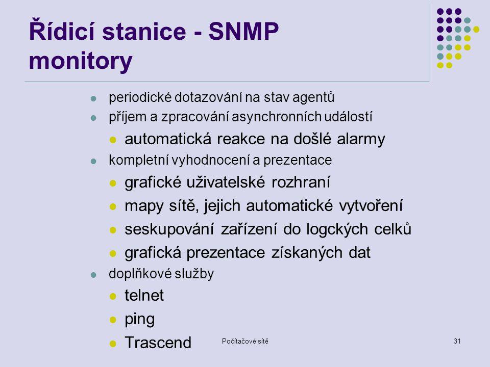 Řídicí stanice - SNMP monitory