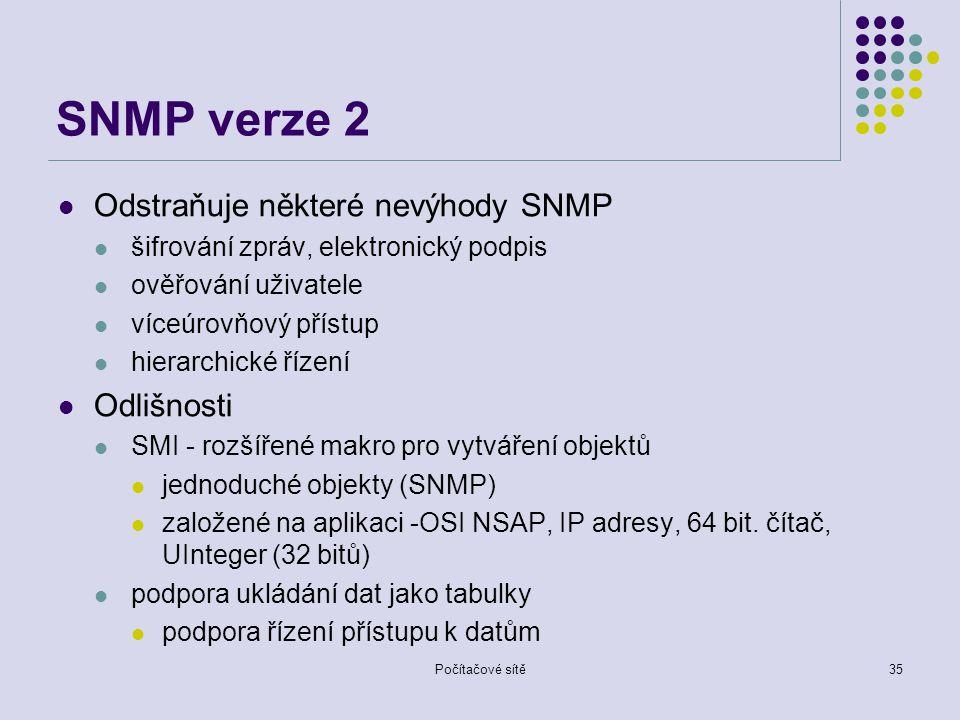 SNMP verze 2 Odstraňuje některé nevýhody SNMP Odlišnosti