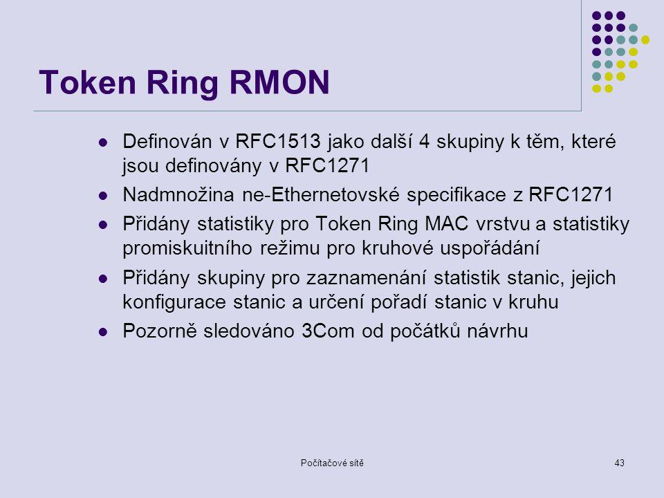 Token Ring RMON Definován v RFC1513 jako další 4 skupiny k těm, které jsou definovány v RFC1271. Nadmnožina ne-Ethernetovské specifikace z RFC1271.