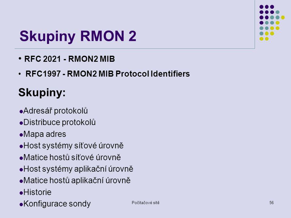 Skupiny RMON 2 Skupiny: RFC 2021 - RMON2 MIB