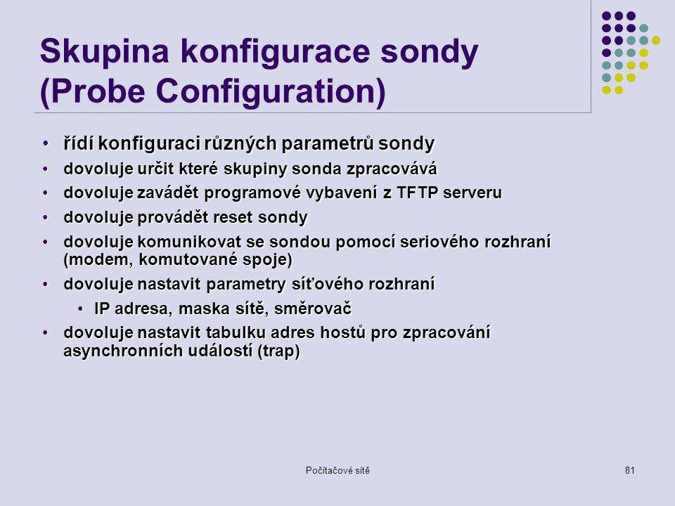 Skupina konfigurace sondy (Probe Configuration)