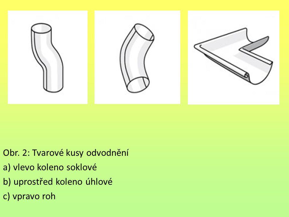 Obr. 2: Tvarové kusy odvodnění a) vlevo koleno soklové b) uprostřed koleno úhlové c) vpravo roh