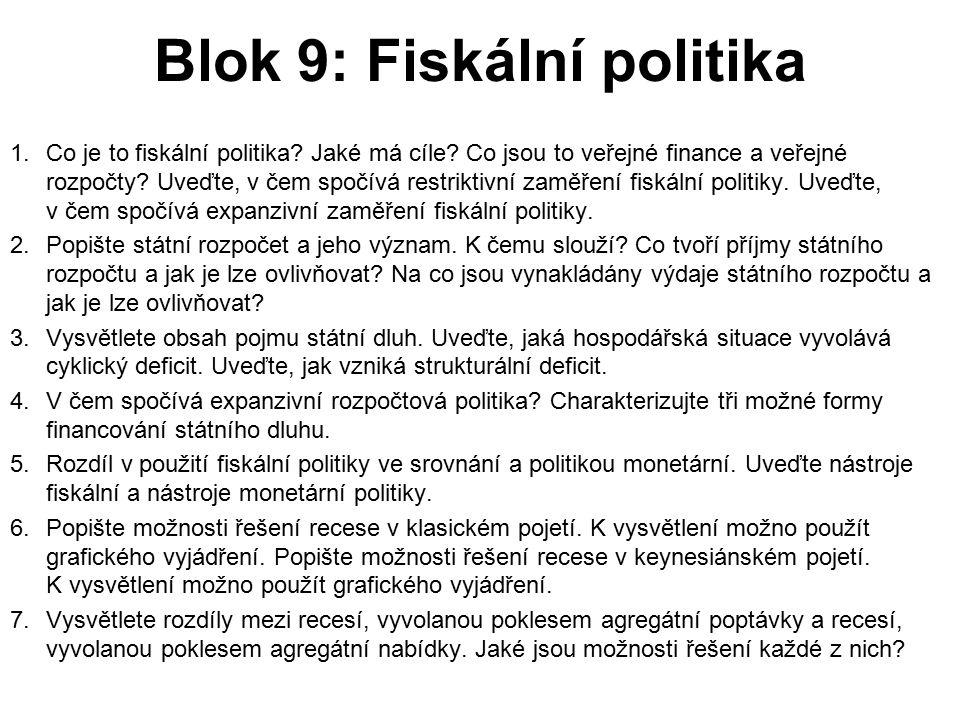 Blok 9: Fiskální politika