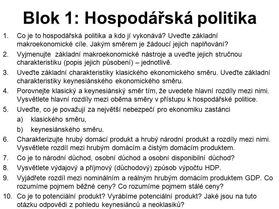 Blok 1: Hospodářská politika