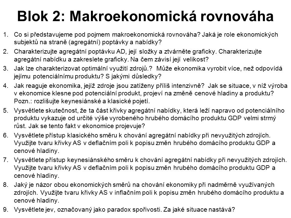 Blok 2: Makroekonomická rovnováha