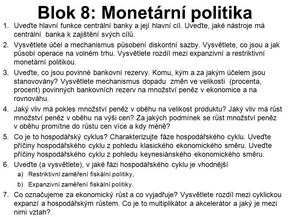 Blok 8: Monetární politika