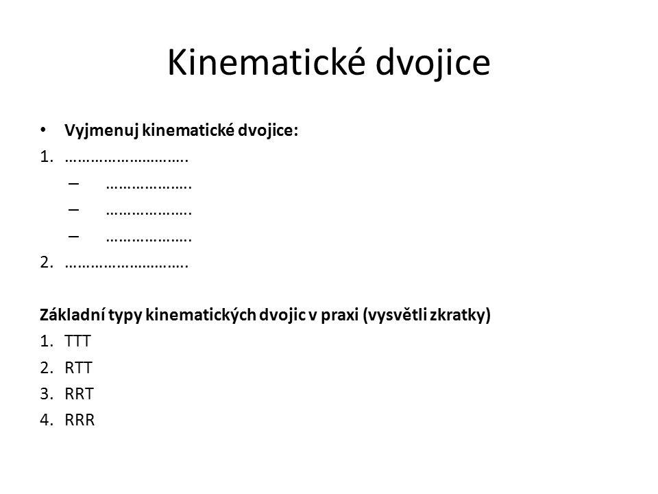 Kinematické dvojice Vyjmenuj kinematické dvojice: ……………………….. ………………..
