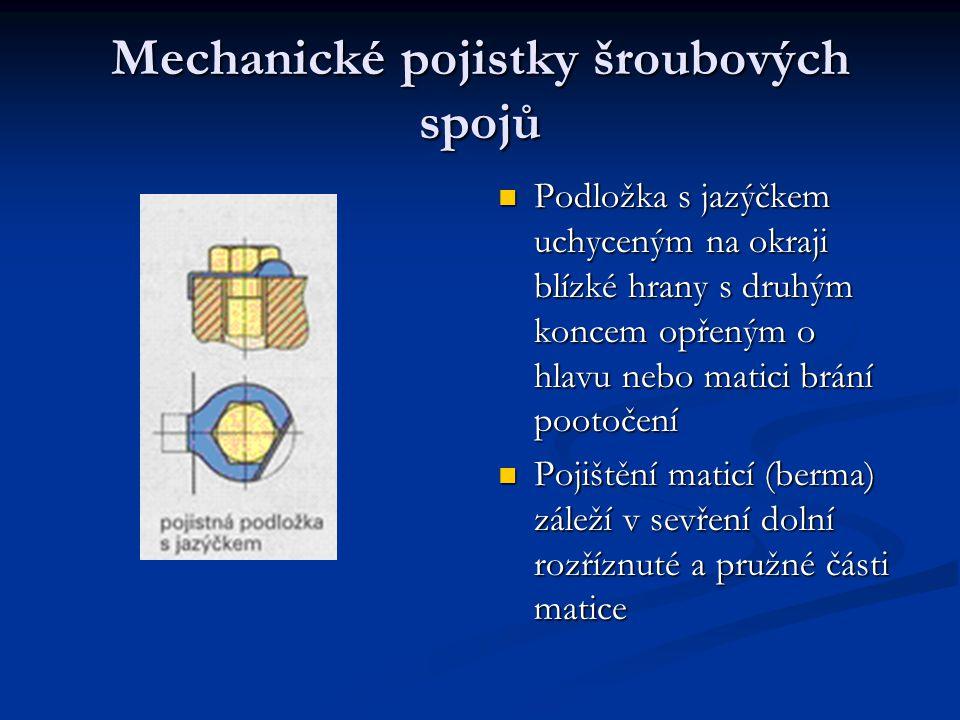 Mechanické pojistky šroubových spojů