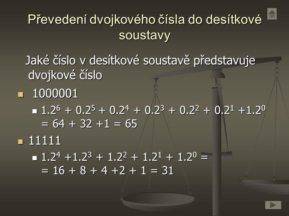 Převedení dvojkového čísla do desítkové soustavy