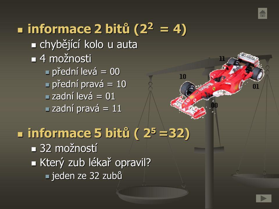 informace 2 bitů (22 = 4) informace 5 bitů ( 25 =32)