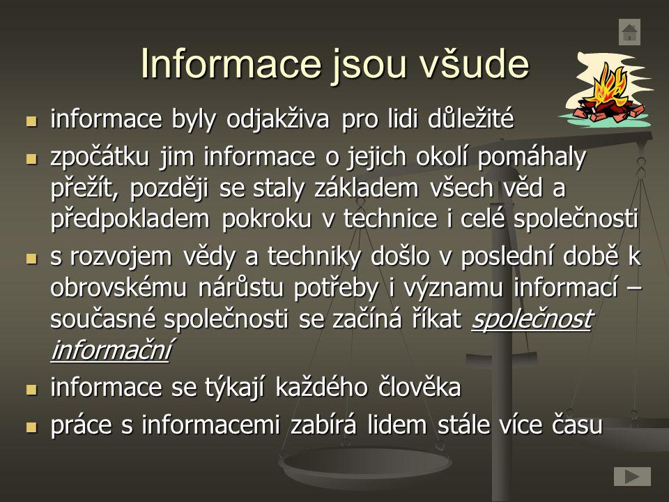 Informace jsou všude informace byly odjakživa pro lidi důležité