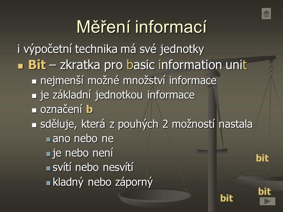 Měření informací Bit – zkratka pro basic information unit