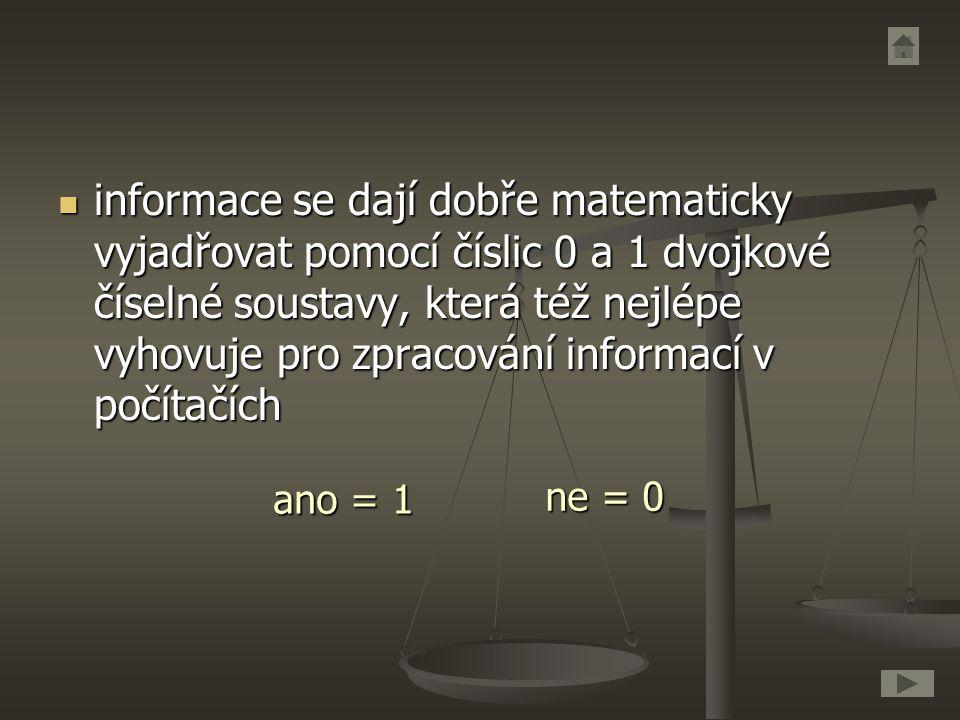 informace se dají dobře matematicky vyjadřovat pomocí číslic 0 a 1 dvojkové číselné soustavy, která též nejlépe vyhovuje pro zpracování informací v počítačích