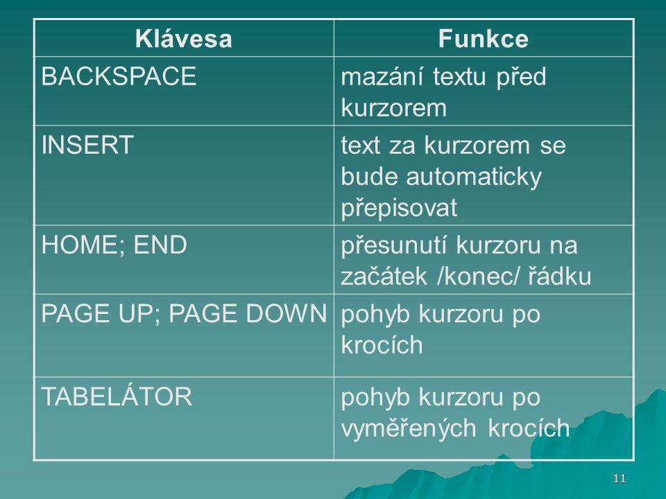 Klávesa Funkce. BACKSPACE. mazání textu před kurzorem. INSERT. text za kurzorem se bude automaticky přepisovat.