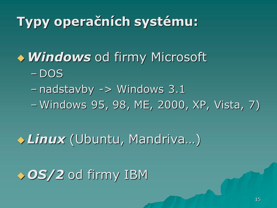 Typy operačních systému: Windows od firmy Microsoft