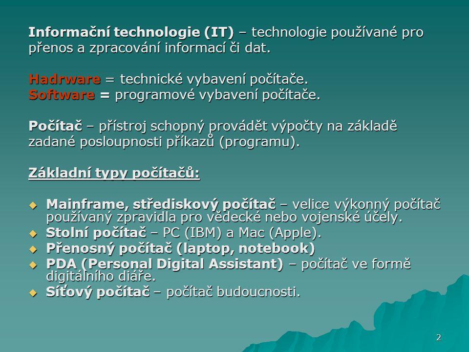 Informační technologie (IT) – technologie používané pro