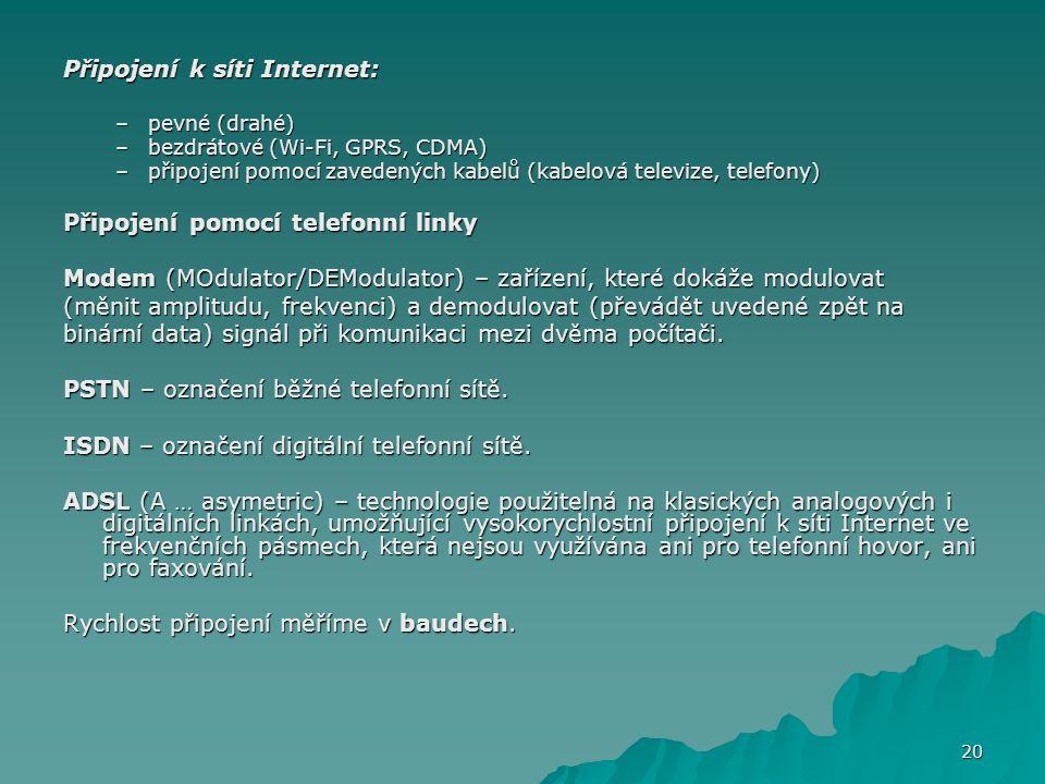 Připojení k síti Internet: