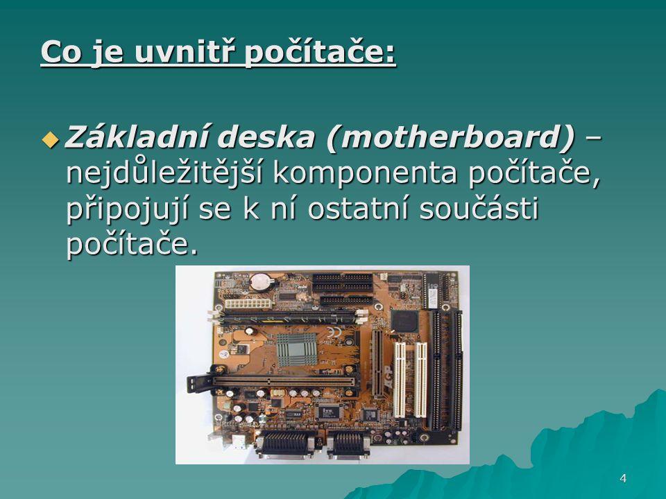 Co je uvnitř počítače: Základní deska (motherboard) – nejdůležitější komponenta počítače, připojují se k ní ostatní součásti počítače.