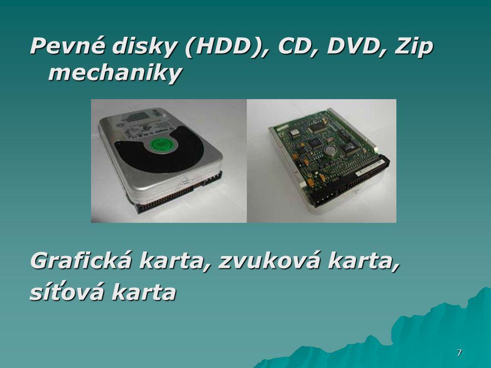 Pevné disky (HDD), CD, DVD, Zip mechaniky