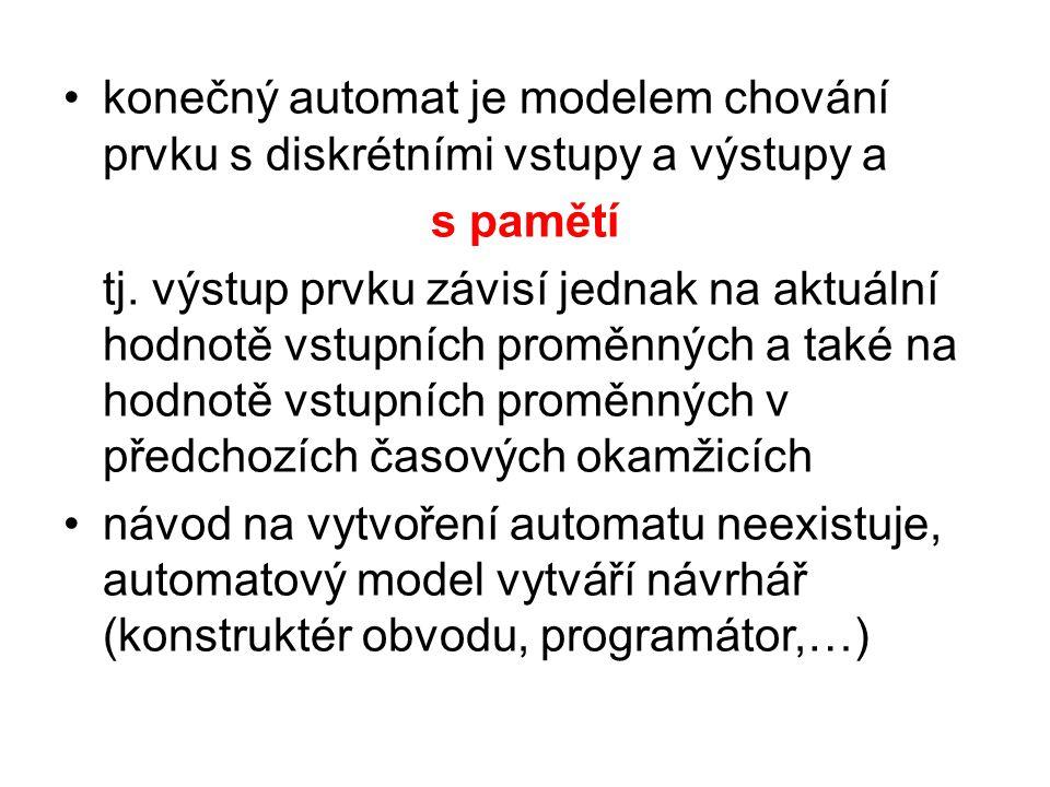konečný automat je modelem chování prvku s diskrétními vstupy a výstupy a