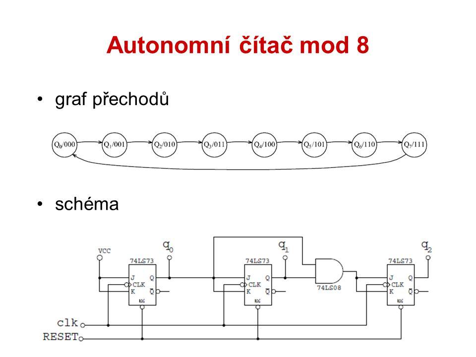 Autonomní čítač mod 8 graf přechodů schéma