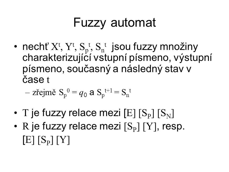 Fuzzy automat nechť Xt, Yt, Spt, Snt jsou fuzzy množiny charakterizující vstupní písmeno, výstupní písmeno, současný a následný stav v čase t.