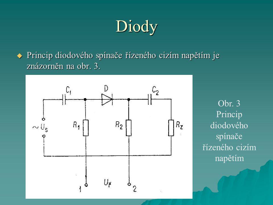 Princip diodového spínače řízeného cizím napětím