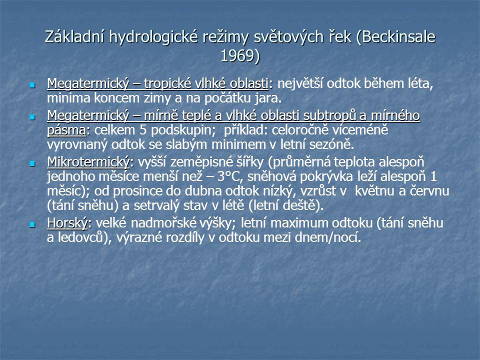 Základní hydrologické režimy světových řek (Beckinsale 1969)