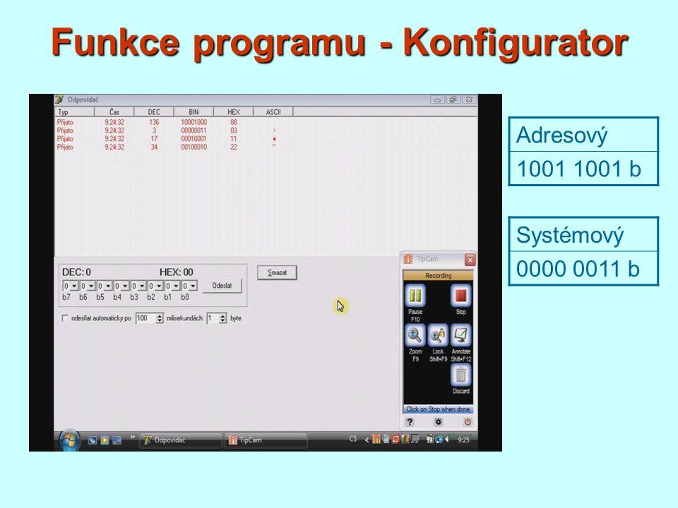 Funkce programu - Konfigurator
