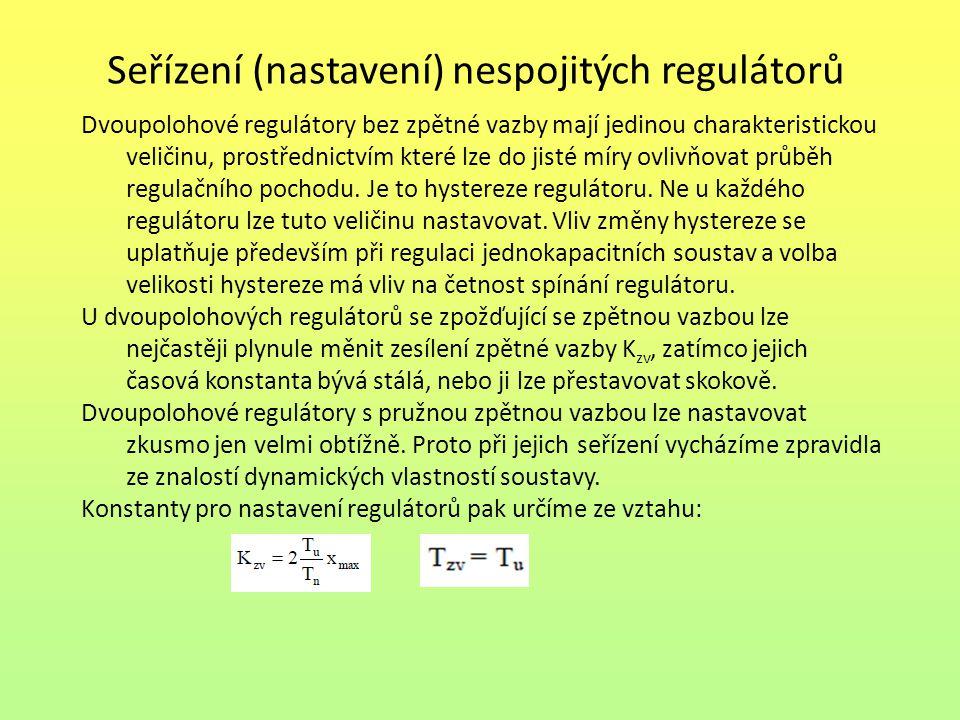 Seřízení (nastavení) nespojitých regulátorů