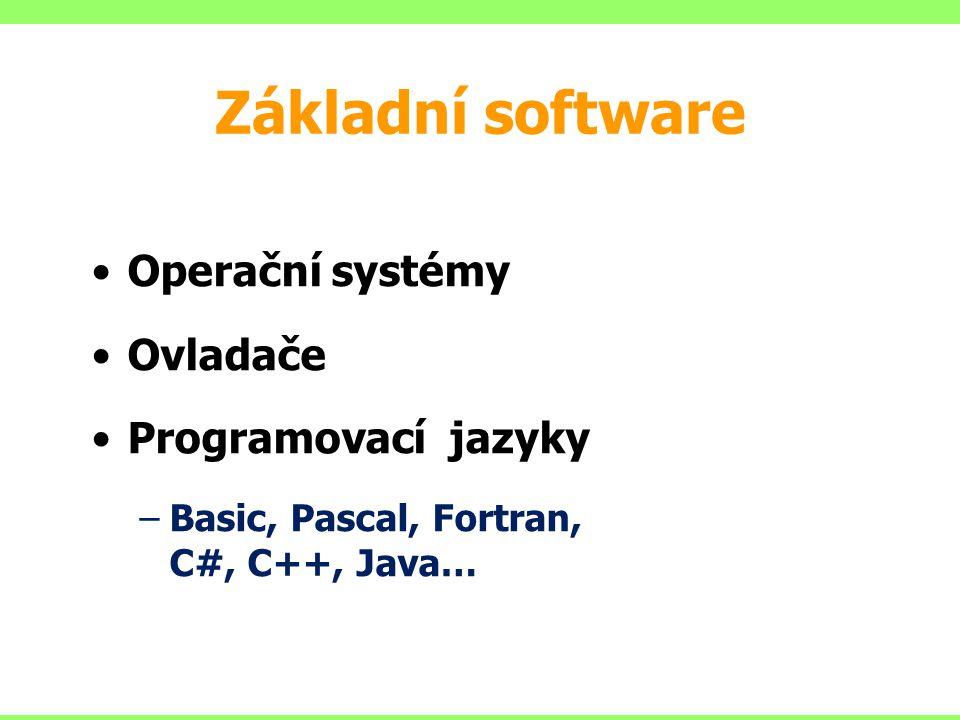 Základní software Operační systémy Ovladače Programovací jazyky