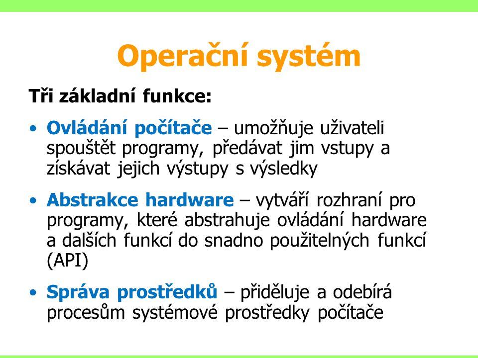 Operační systém Tři základní funkce: