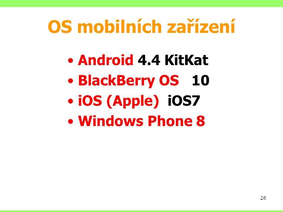OS mobilních zařízení Android 4.4 KitKat BlackBerry OS 10