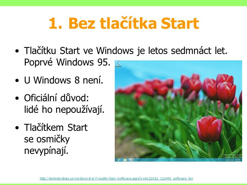 Bez tlačítka Start Tlačítku Start ve Windows je letos sedmnáct let. Poprvé Windows 95. U Windows 8 není.