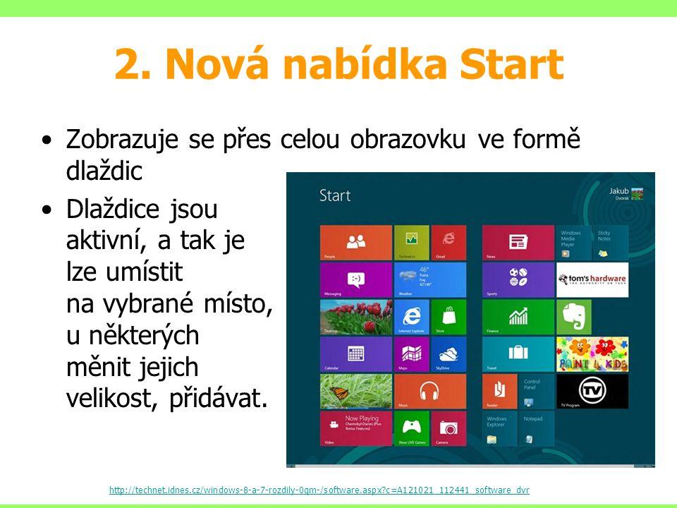 2. Nová nabídka Start Zobrazuje se přes celou obrazovku ve formě dlaždic.