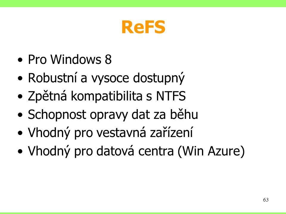 ReFS Pro Windows 8 Robustní a vysoce dostupný