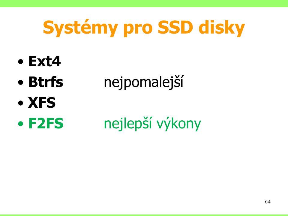 Systémy pro SSD disky Ext4 Btrfs nejpomalejší XFS F2FS nejlepší výkony